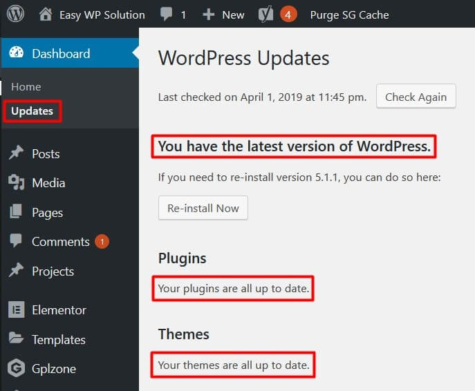 wordpress core update