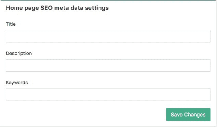 SEO meta data settings